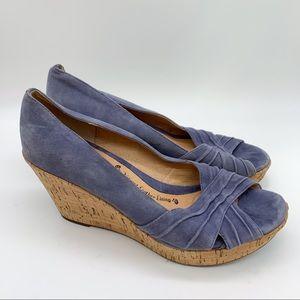 SOFFT periwinkle wedge peep toe heels, 9.
